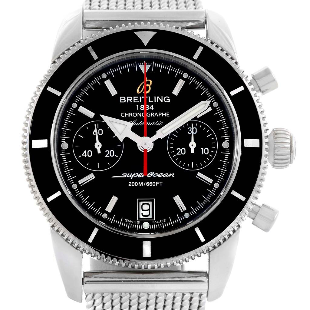 15402 Breitling SuperOcean Heritage 44 Chrono Black Dial Watch A23370 SwissWatchExpo