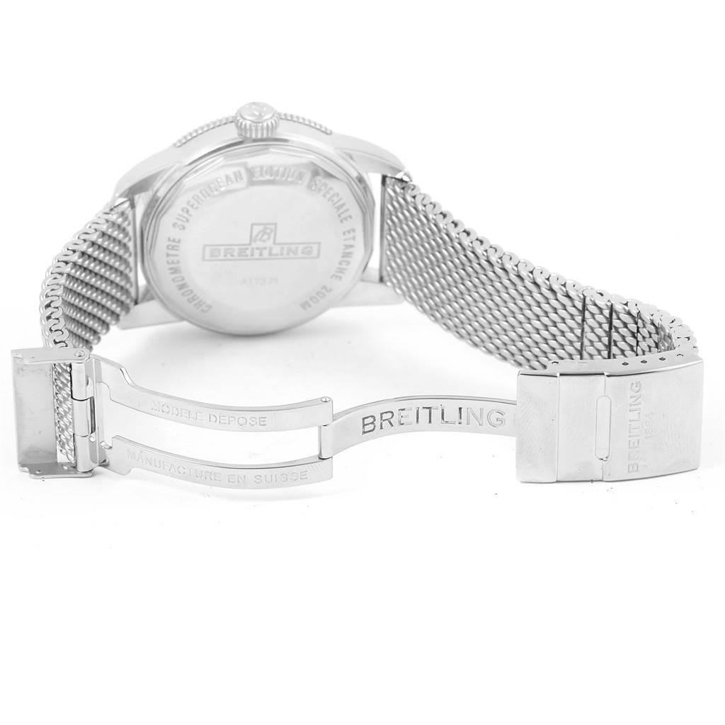 15392 Breitling Superocean Heritage 42 Black Dial Mesh Bracelet Watch A17321 SwissWatchExpo