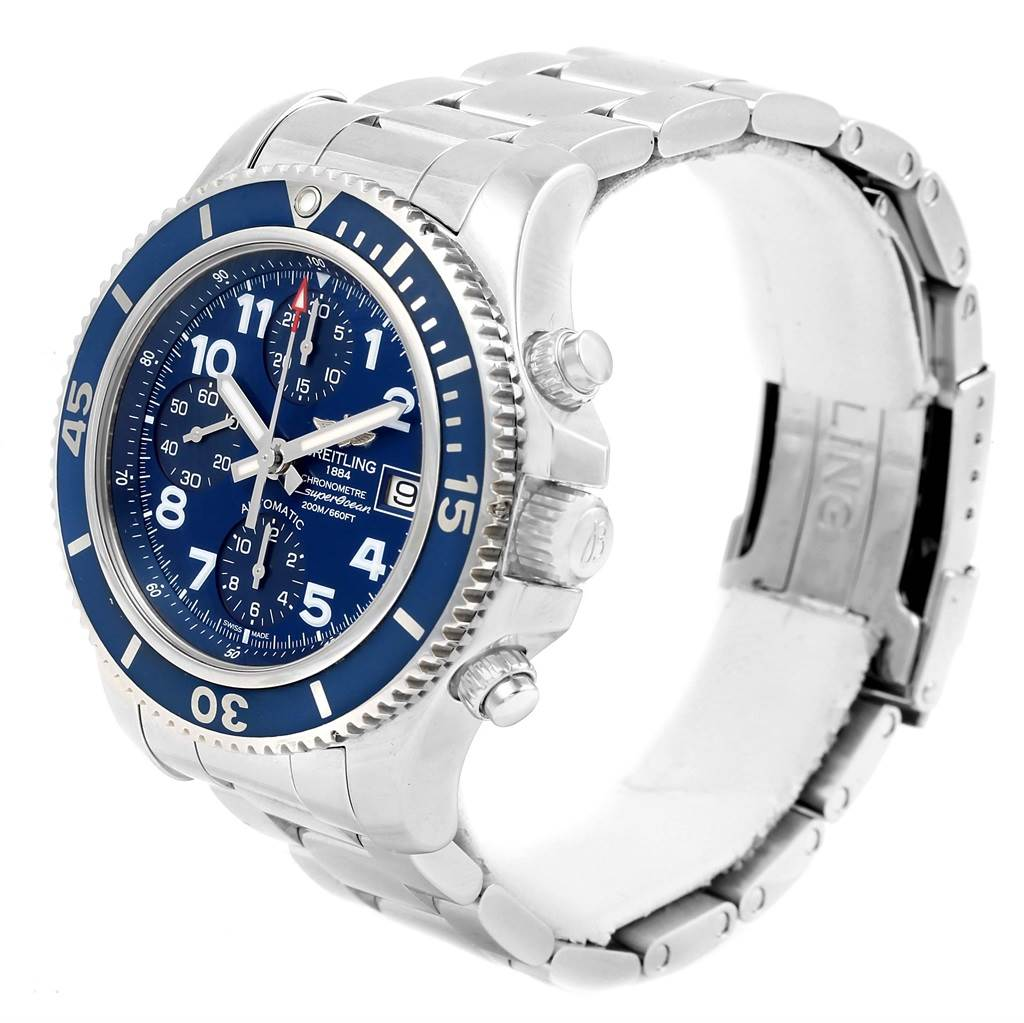15375 Breitling Superocean Chronograph 42 Steel Mens Watch A13311 Box Card SwissWatchExpo