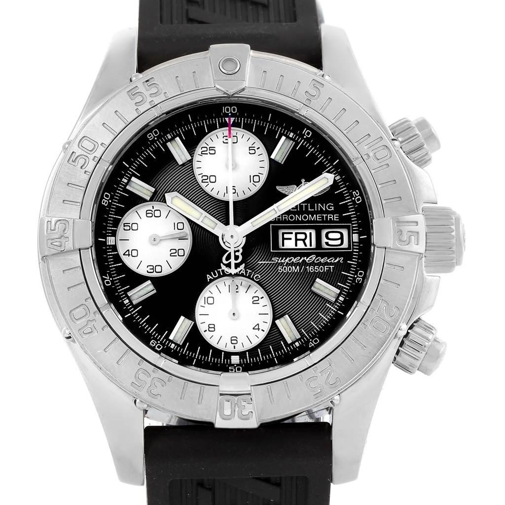 Breitling Aeromarine Superocean Black Rubber Strap Mens Watch A13340 SwissWatchExpo