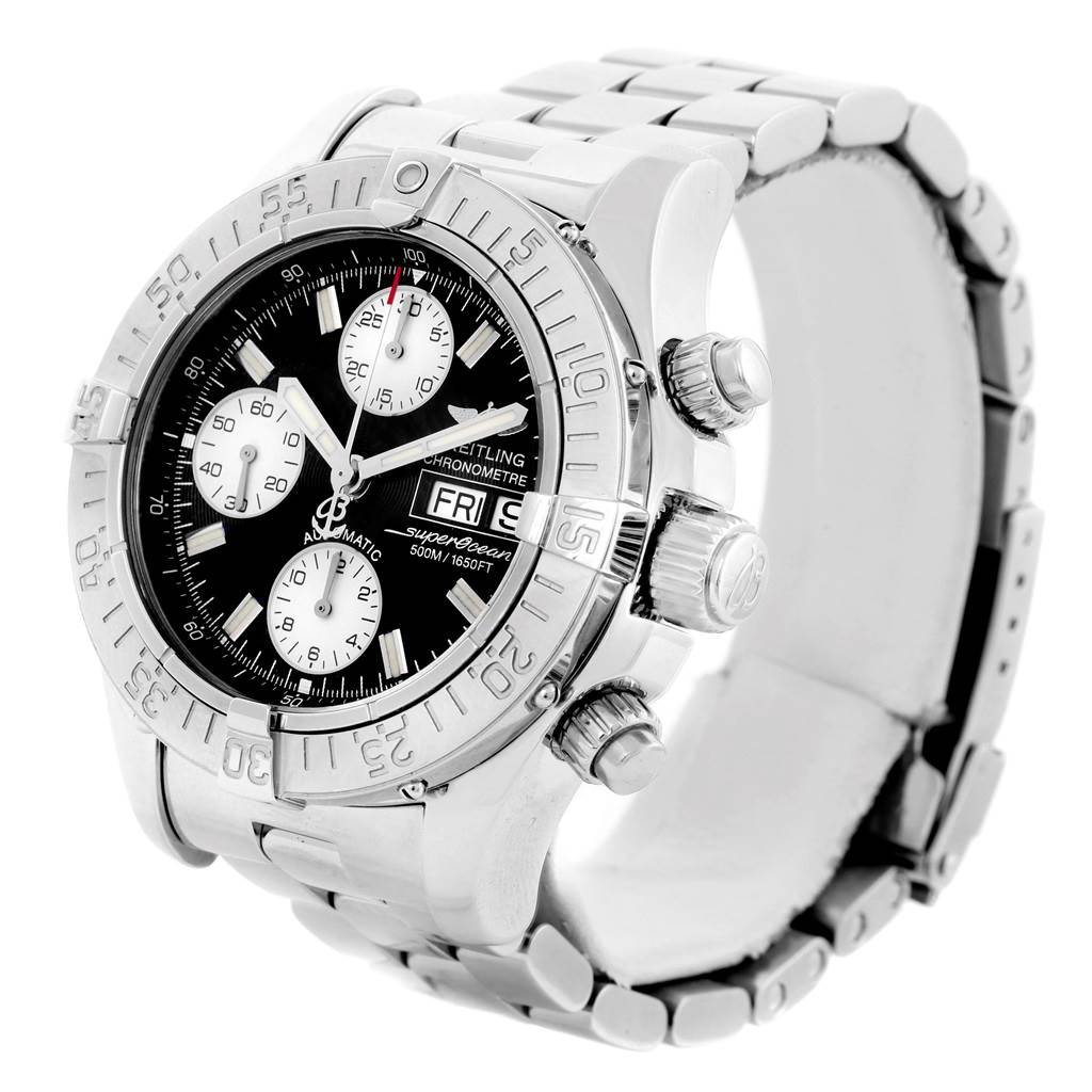 148STX Breitling Aeromarine Superocean Black Dial Steel Mens Watch A13340 SwissWatchExpo