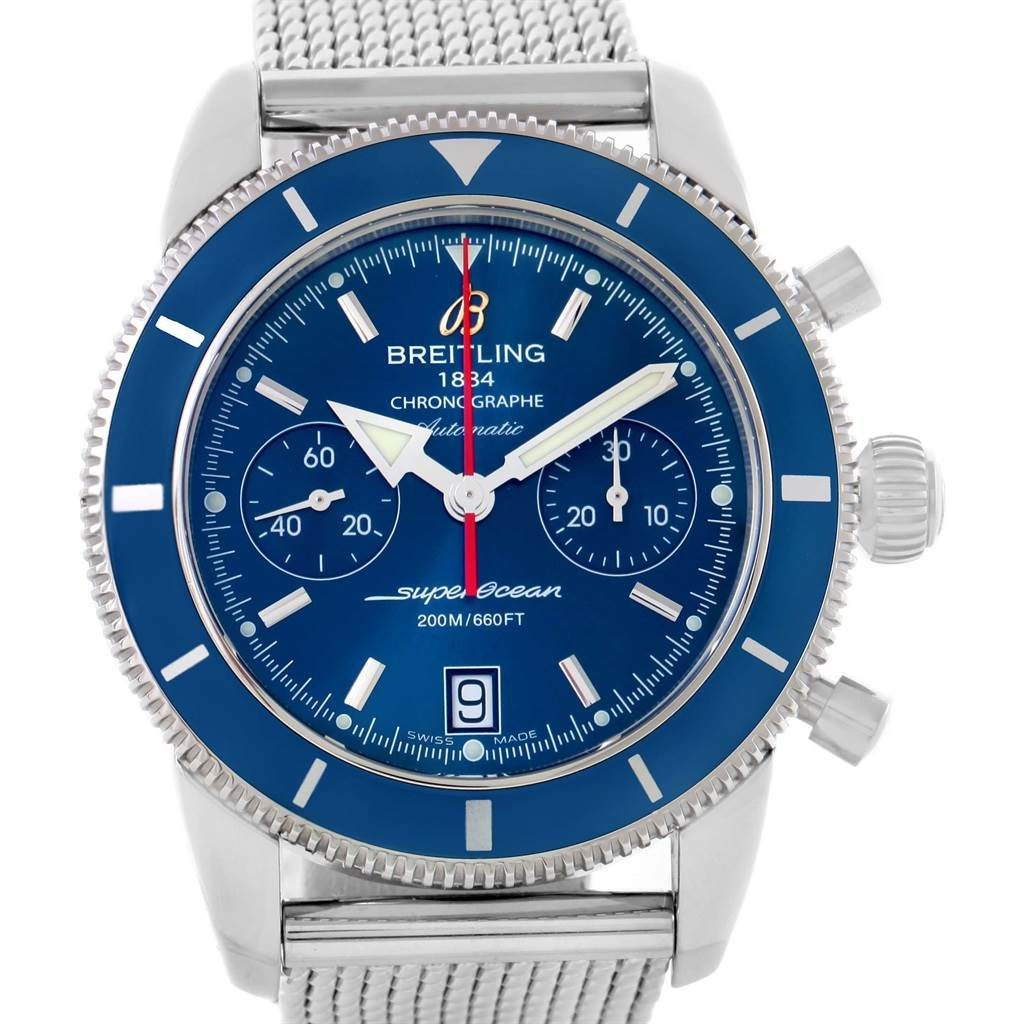 15512 Breitling SuperOcean Heritage 44 Blue Dial Mesh Bracelet Watch A23370 SwissWatchExpo