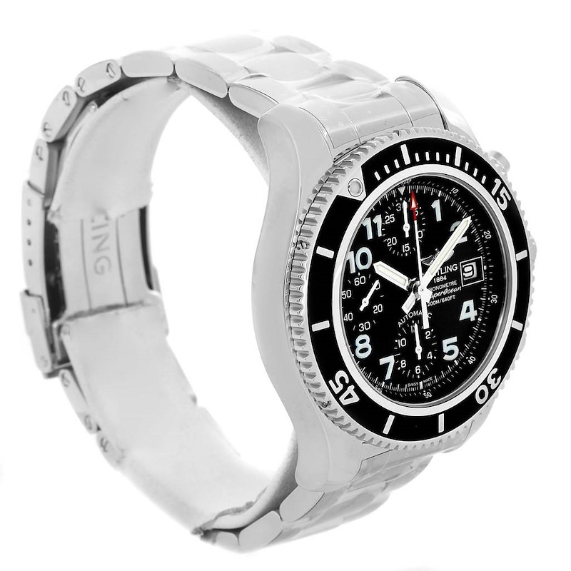 Breitling Superocean Chronograph 42 Black Dial Steel Mens Watch A13311 SwissWatchExpo