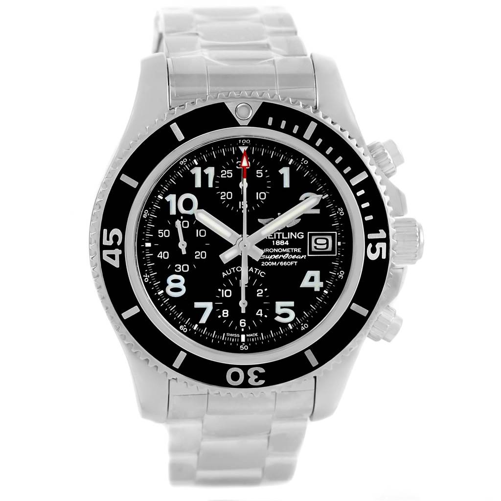 15511 Breitling Superocean Chronograph 42 Black Dial Steel Mens Watch A13311 SwissWatchExpo