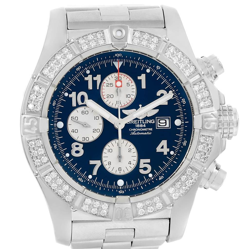 15501 Breitling Aeromarine Super Avenger Diamond Mens Watch A13370 SwissWatchExpo
