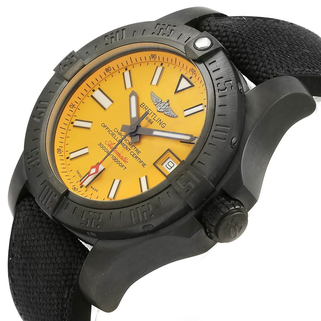 15678 Breitling Avenger II Seawolf Cobra Yellow LE Blacksteel Watch M17331 Unworn SwissWatchExpo