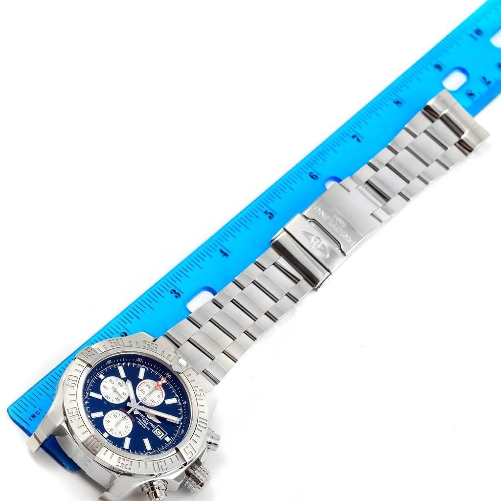 Breitling Aeromarine Super Avenger Blue Dial Steel Mens Watch A13371 SwissWatchExpo