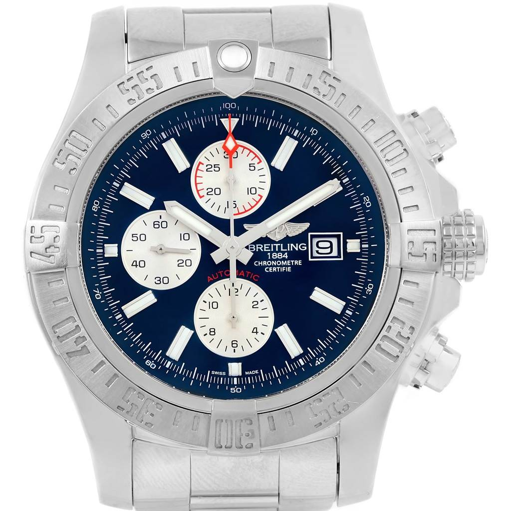 15503 Breitling Aeromarine Super Avenger Blue Dial Steel Mens Watch A13371 SwissWatchExpo
