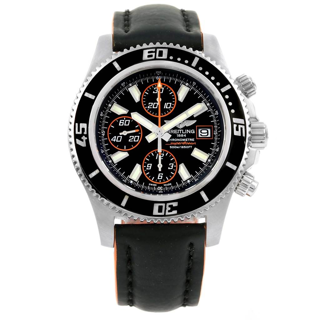 15634 Breitling Aeromarine SuperOcean Black Orange Dial Mens Watch A13341 SwissWatchExpo