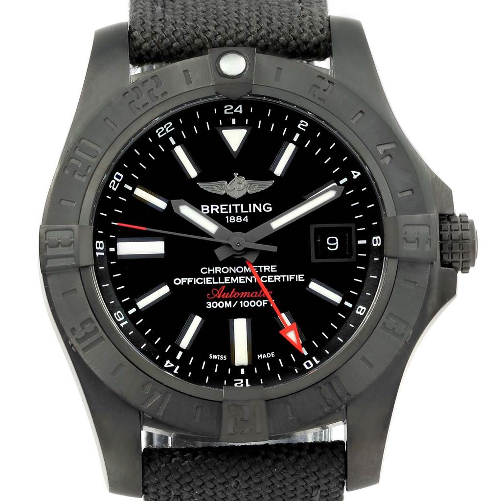 15676 Breitling Aeromarine Avenger II GMT Black Steel Watch M32390 Unworn SwissWatchExpo