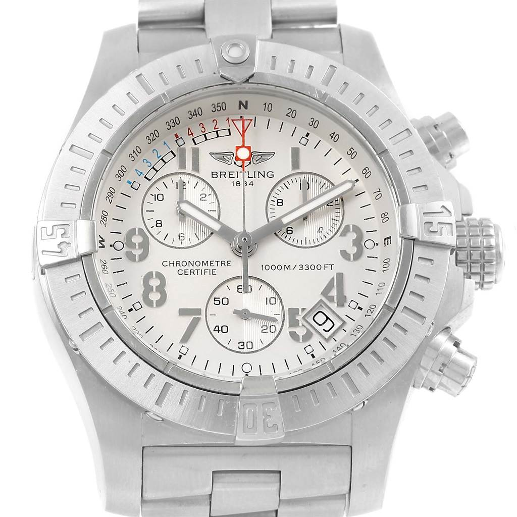 15730 Breitling Avenger Seawolf Silver Dial Mens Watch A73390 Box Papers SwissWatchExpo
