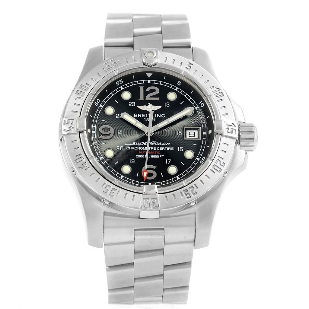 15474 Breitling Aeromarine Superocean Steelfish Black Dial Watch A17390 SwissWatchExpo