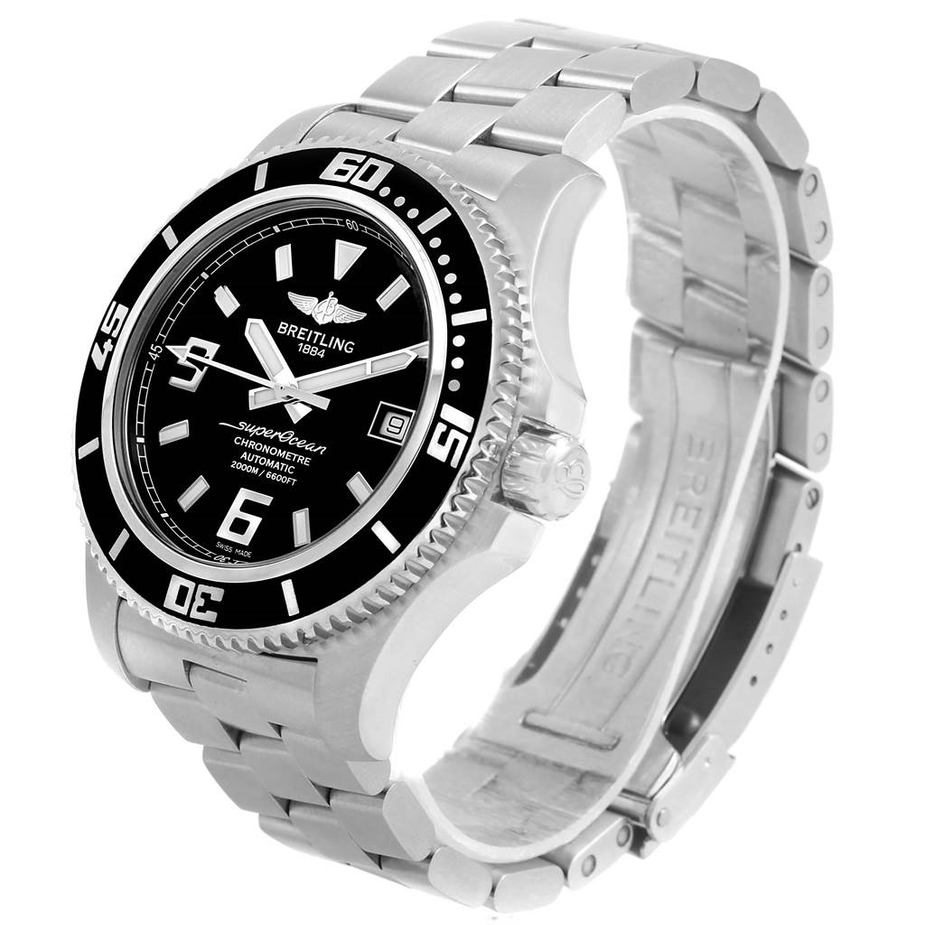15687 Breitling Aeromarine Superocean 44 Black Dial Steel Mens Watch A17391 SwissWatchExpo
