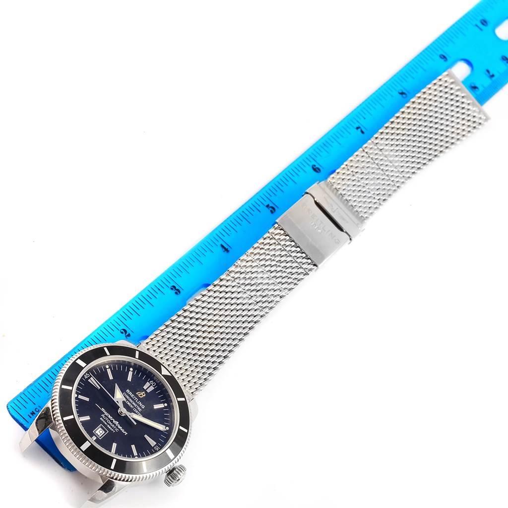 15688 Breitling Superocean Heritage 46 Black Dial Mesh Bracelet Watch A17320 SwissWatchExpo