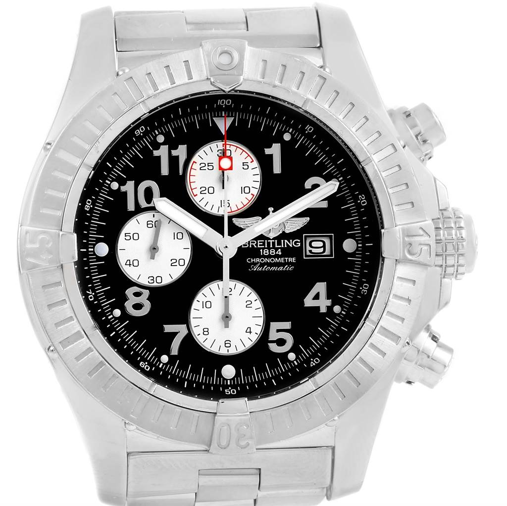 15756 Breitling Aeromarine Super Avenger Black Dial Mens Watch A13370 SwissWatchExpo