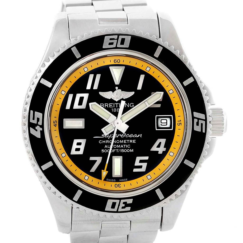 15686 Breitling Superocean 42 Abyss Black Yellow Automatic Mens Watch A17364 SwissWatchExpo