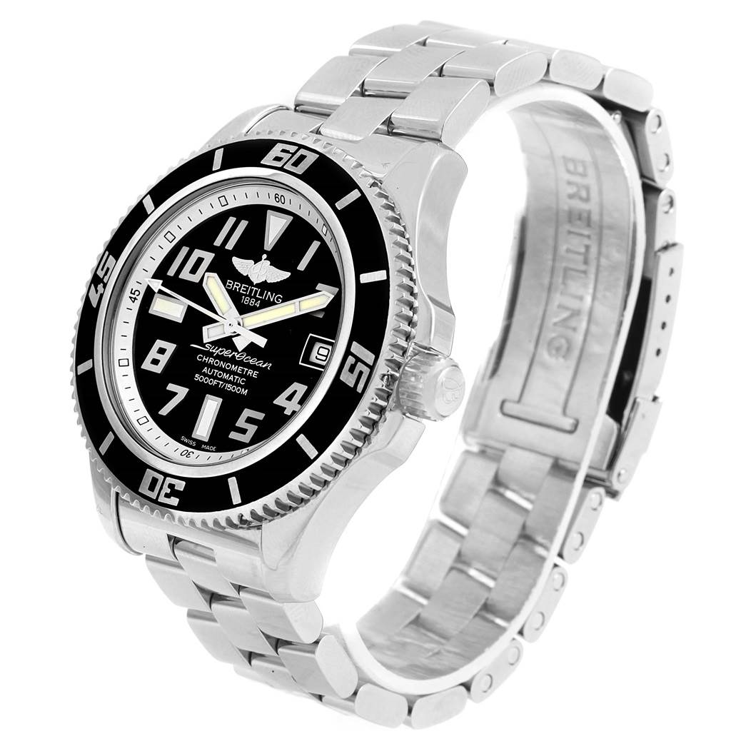 Breitling Superocean 42 Abyss Black Silver Dial Mens Watch A17364 Box Papers SwissWatchExpo