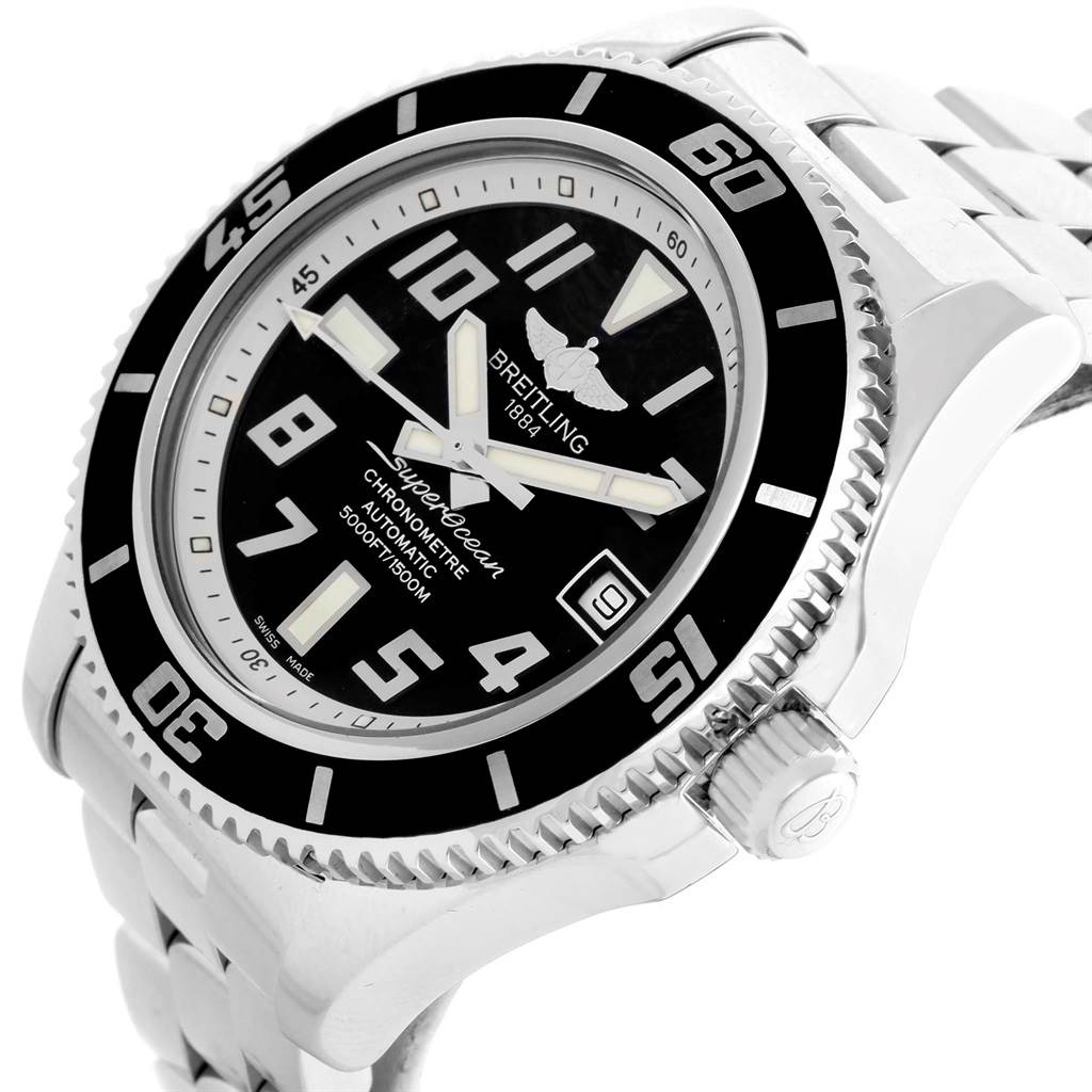 15809 Breitling Superocean 42 Abyss Black Silver Dial Mens Watch A17364 Box Papers SwissWatchExpo