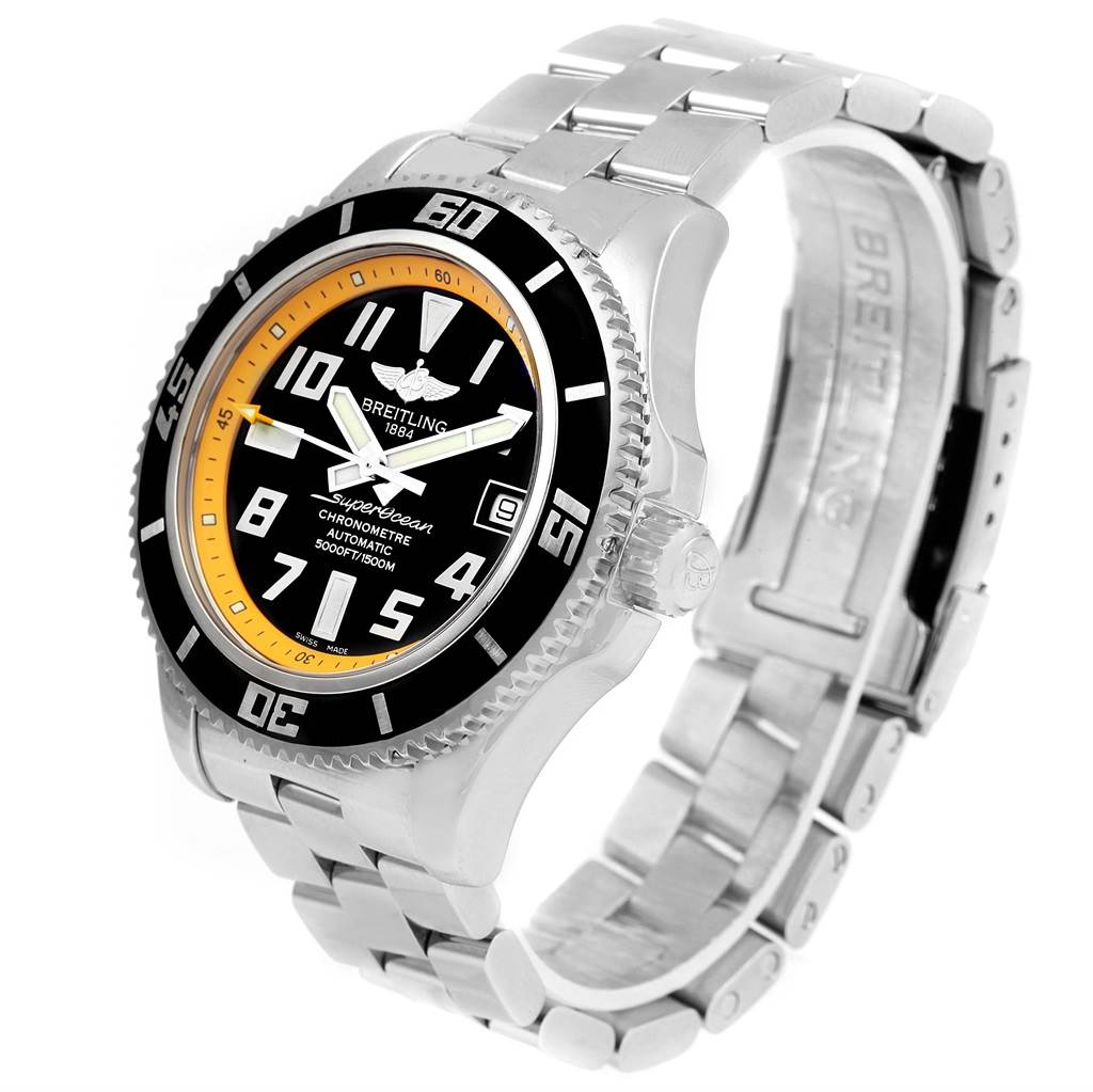 15829 Breitling Superocean Abyss Black Yellow Mens Watch A17364 Box SwissWatchExpo