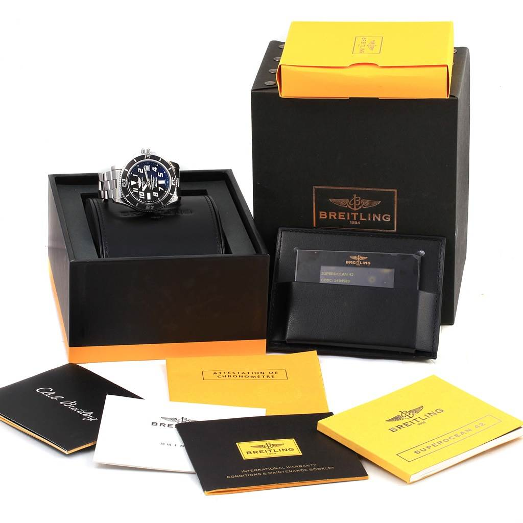 Breitling Superocean 42 Abyss Black Dial Steel Watch A17364 Box Papers SwissWatchExpo