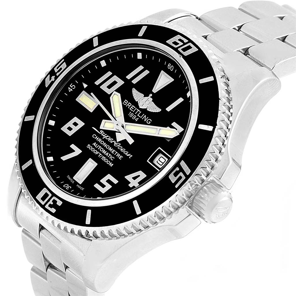 15818 Breitling Superocean 42 Abyss Black Dial Steel Watch A17364 Box Papers SwissWatchExpo