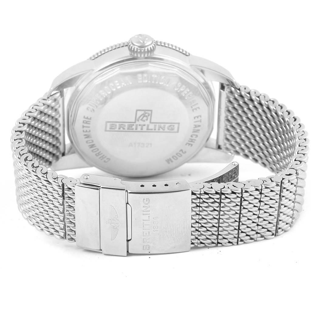 Breitling Superocean Heritage 42 Black Dial Mesh Bracelet Watch A17321 SwissWatchExpo