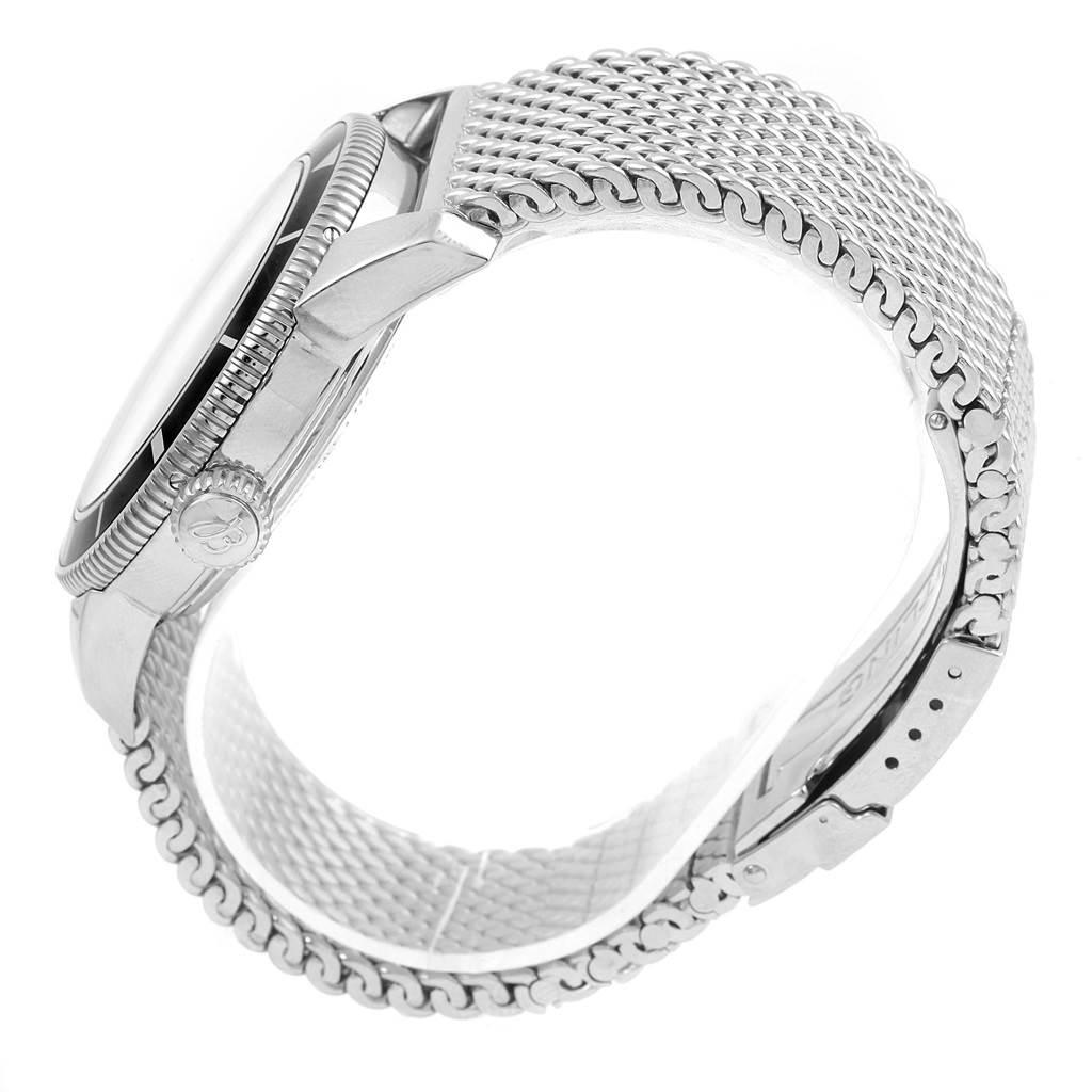 15853 Breitling Superocean Heritage 42 Black Dial Mesh Bracelet Watch A17321 SwissWatchExpo