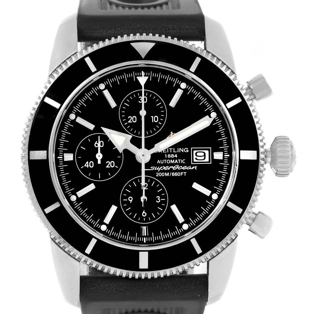 15875 Breitling SuperOcean Heritage Chrono 46 Black Dial Mens Watch A13320 SwissWatchExpo