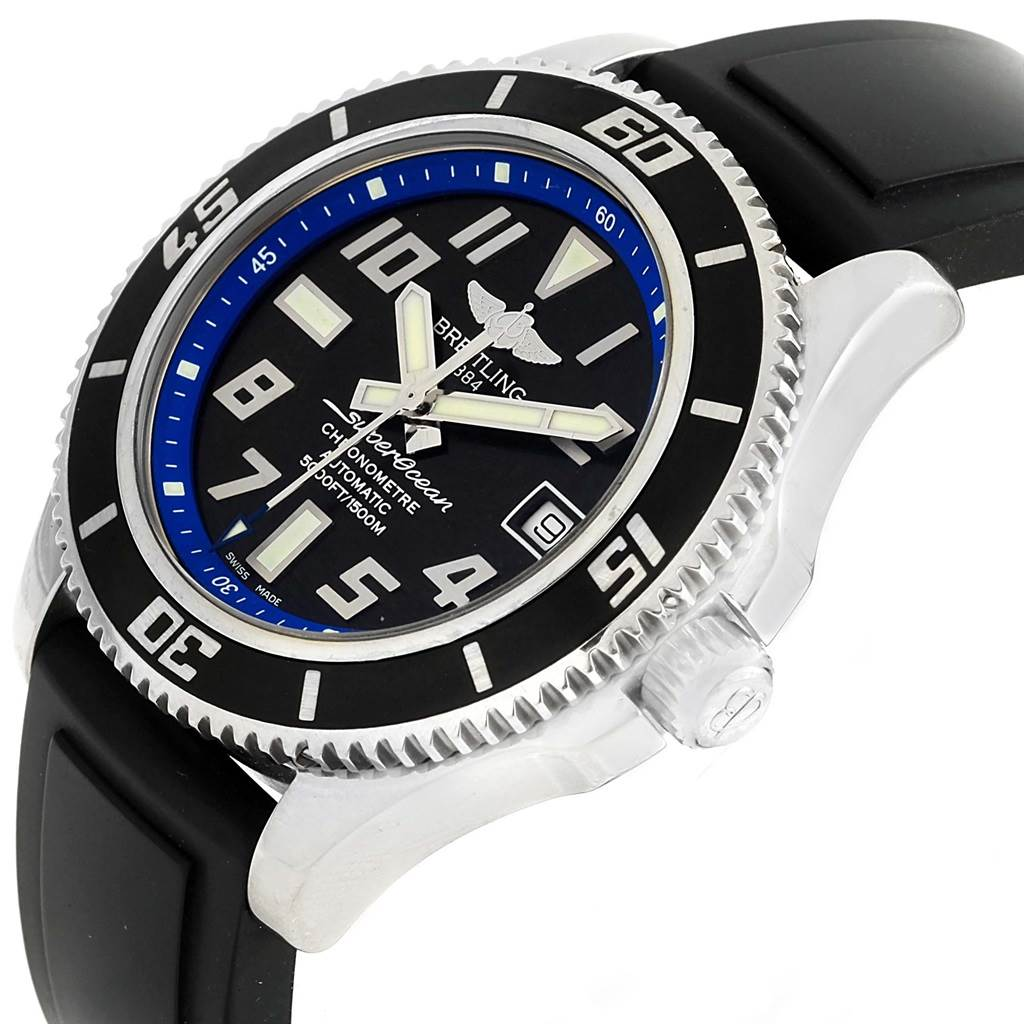 Breitling Superocean Abyss Black Blue Dial Rubber Strap Watch A17364 SwissWatchExpo