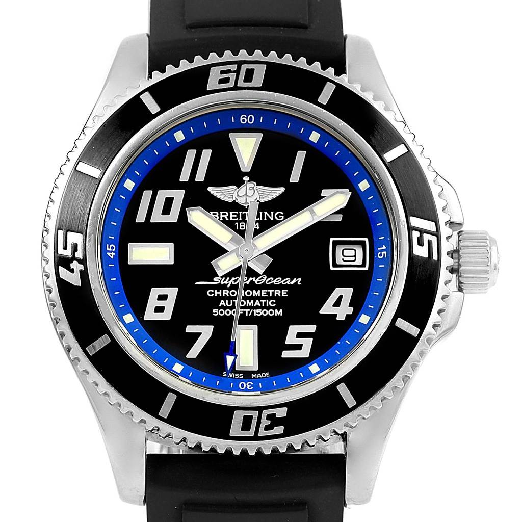 15876 Breitling Superocean Abyss Black Blue Dial Rubber Strap Watch A17364 SwissWatchExpo