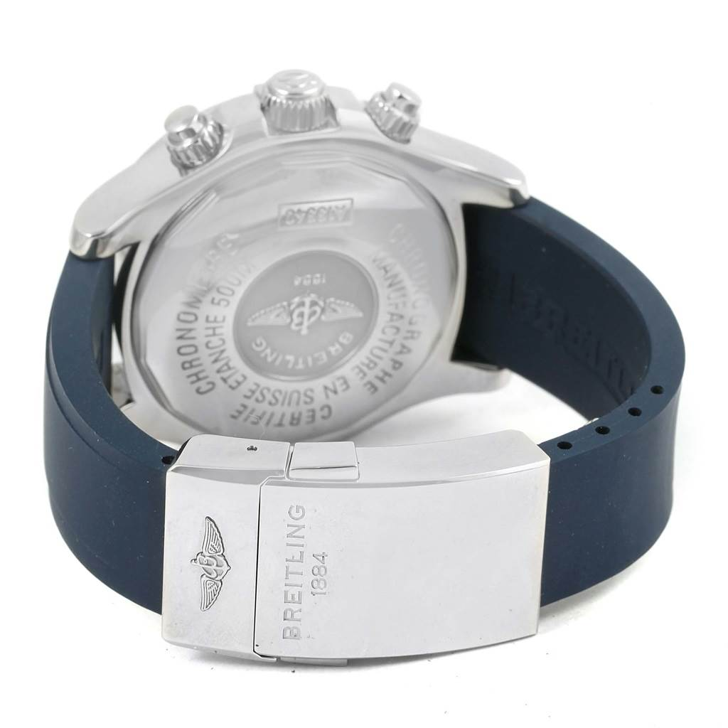 15968 Breitling Aeromarine Superocean Blue Rubber Strap Mens Watch A13340 SwissWatchExpo