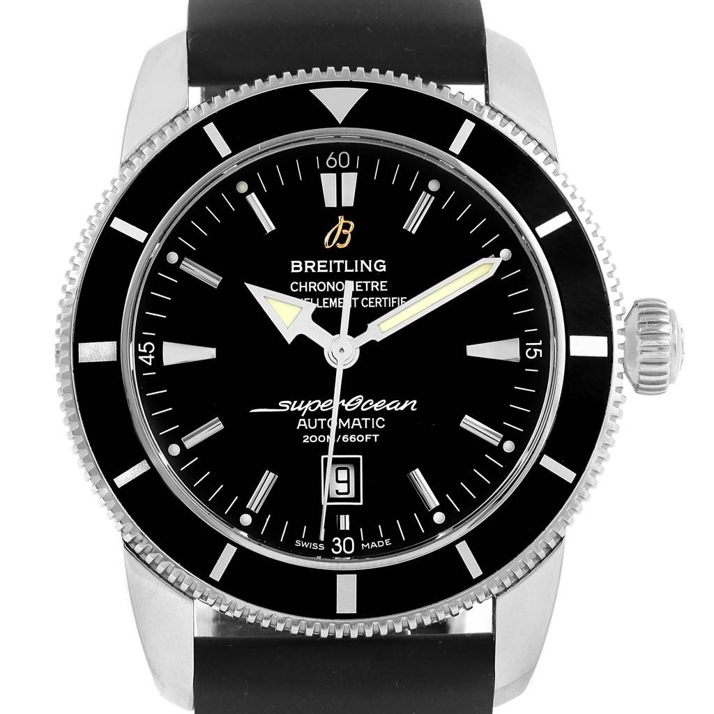 15688A Breitling Superocean Heritage 46 Black Dial Rubber Strap Watch A17320  SwissWatchExpo