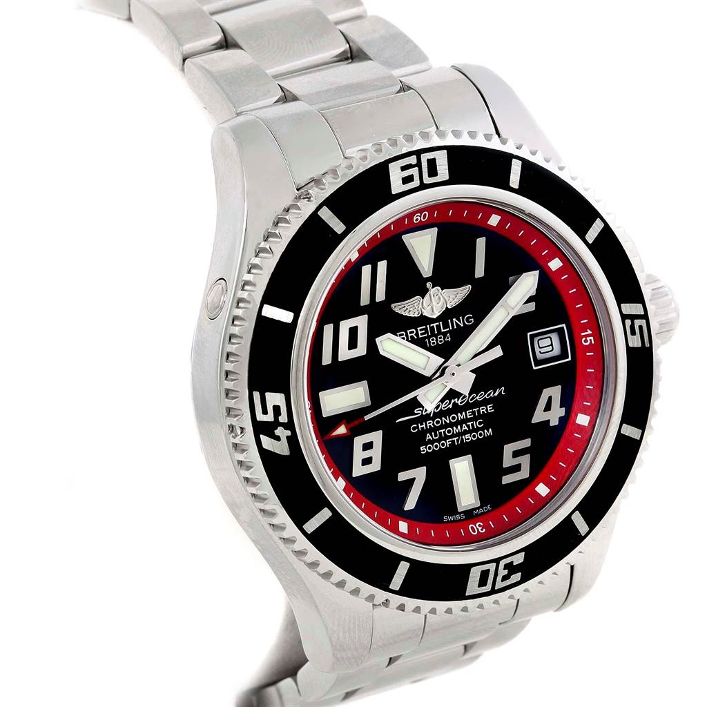 Breitling Superocean 42 Abyss Black Red Automatic Mens Watch A17364 SwissWatchExpo