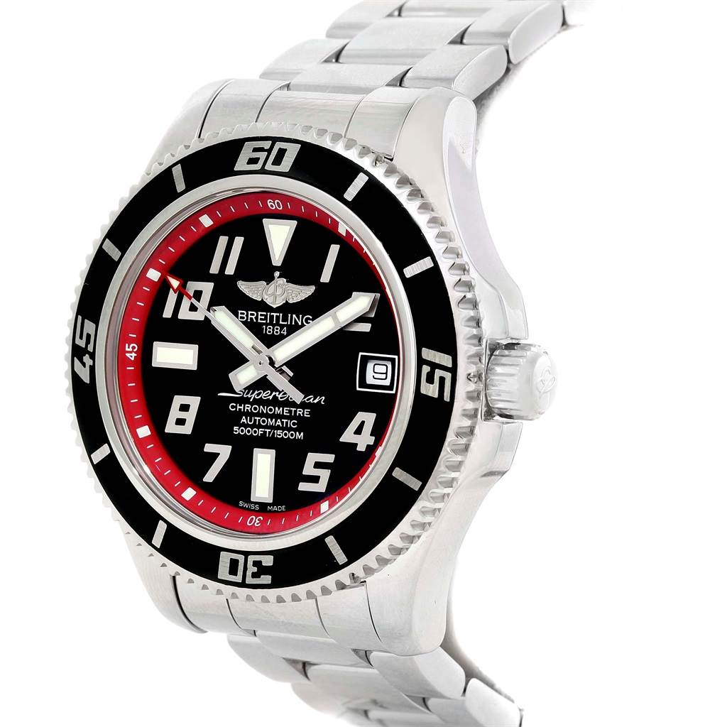 16064 Breitling Superocean 42 Abyss Black Red Automatic Mens Watch A17364  SwissWatchExpo