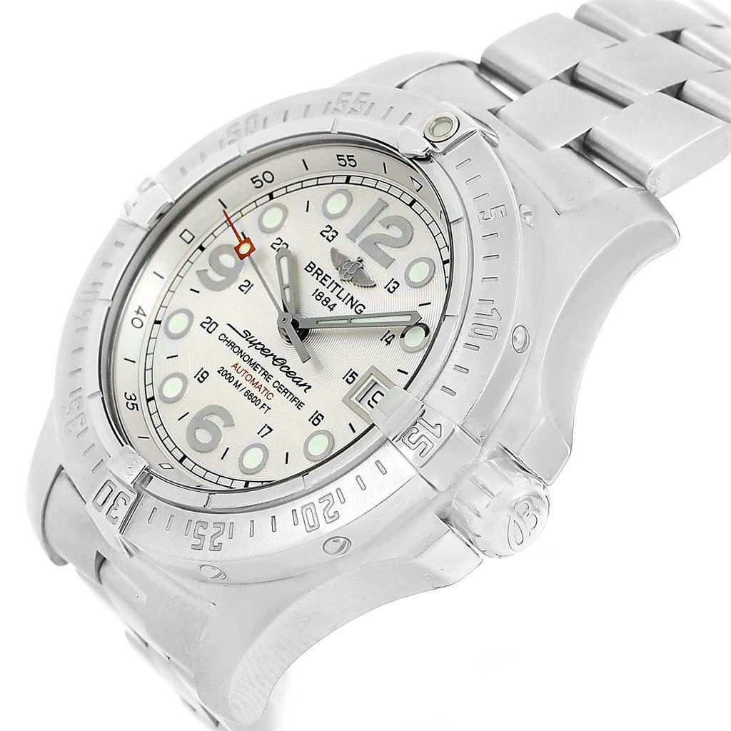 13908 Breitling Aeromarine Superocean Steelfish Silver Dial Watch A17390 SwissWatchExpo