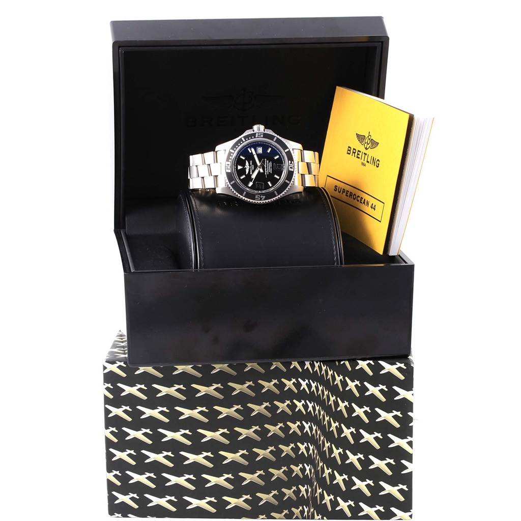 16193 Breitling Aeromarine Superocean 44 Black Dial Steel Mens Watch A17391 SwissWatchExpo