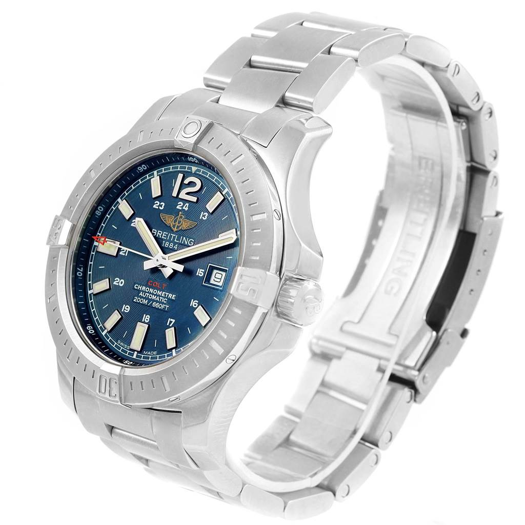 16092 Breitling Colt Blue Baton Dial Automatic Steel Mens Watch A17388 SwissWatchExpo