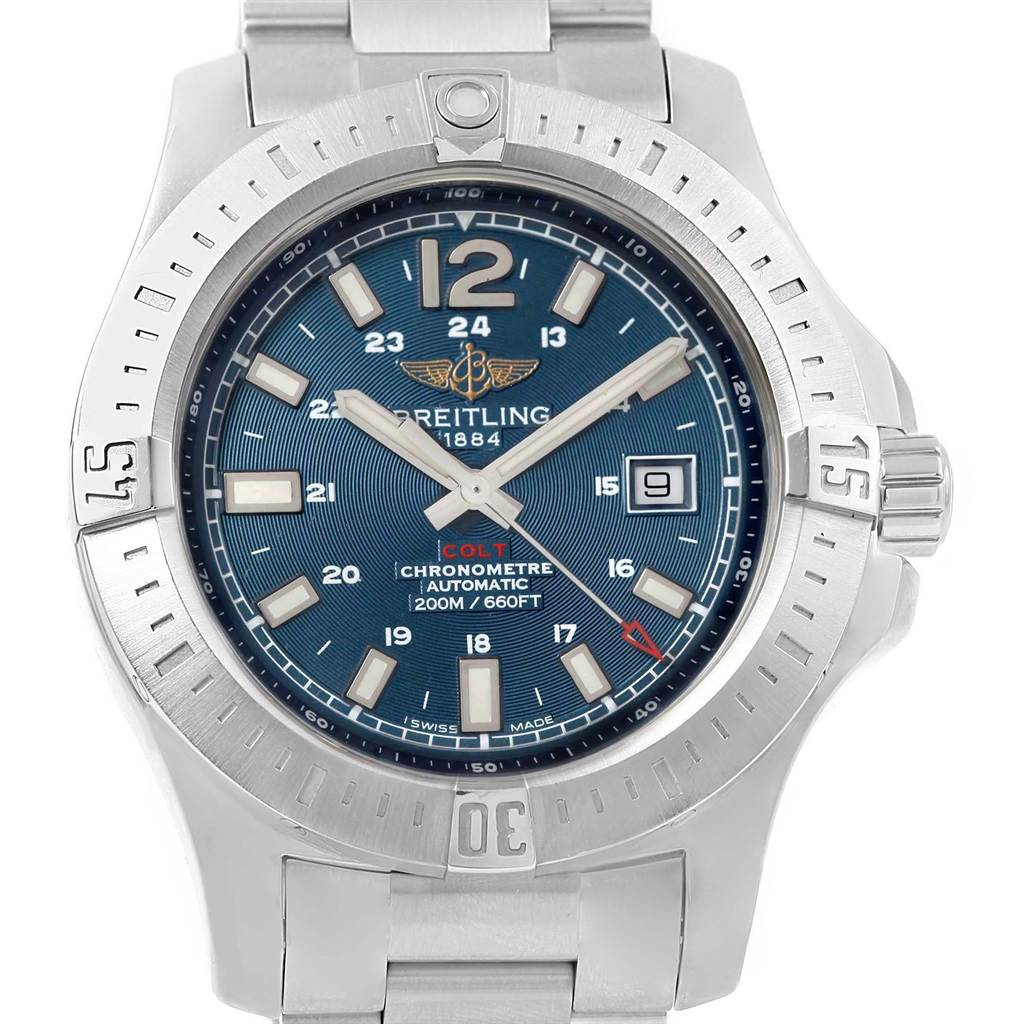 Photo of Breitling Colt Blue Baton Dial Automatic Steel Mens Watch A17388
