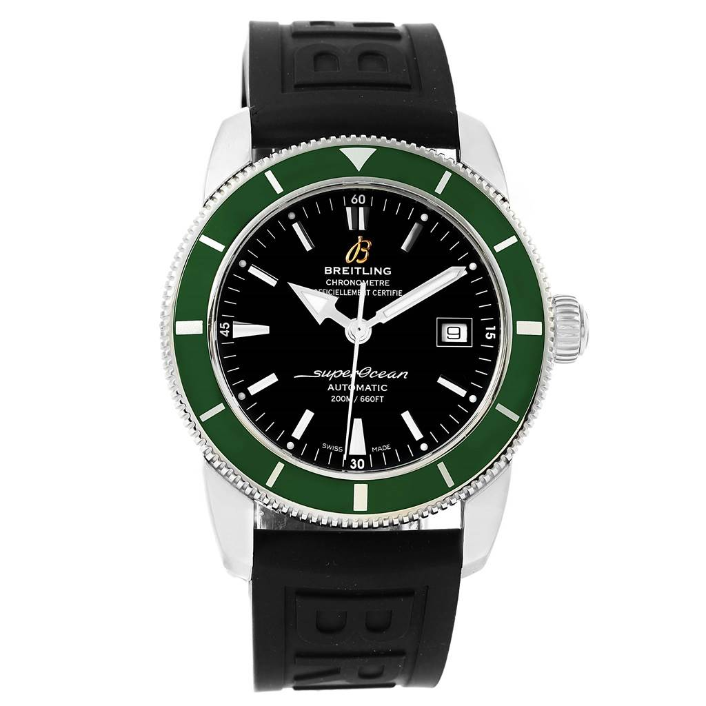 16165 Breitling Superocean Heritage 42 Green Bezel Mens Watch A17321 SwissWatchExpo