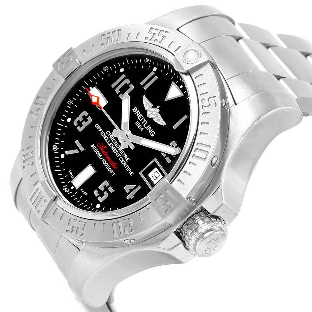 16179 Breitling Aeromarine Avenger II Seawolf Black Dial Mens Watch A17331 SwissWatchExpo