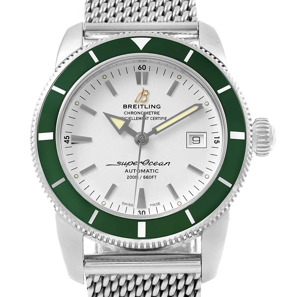 16346 Breitling Superocean Heritage 42 Silver Dial Green Bezel Watch A17321 SwissWatchExpo