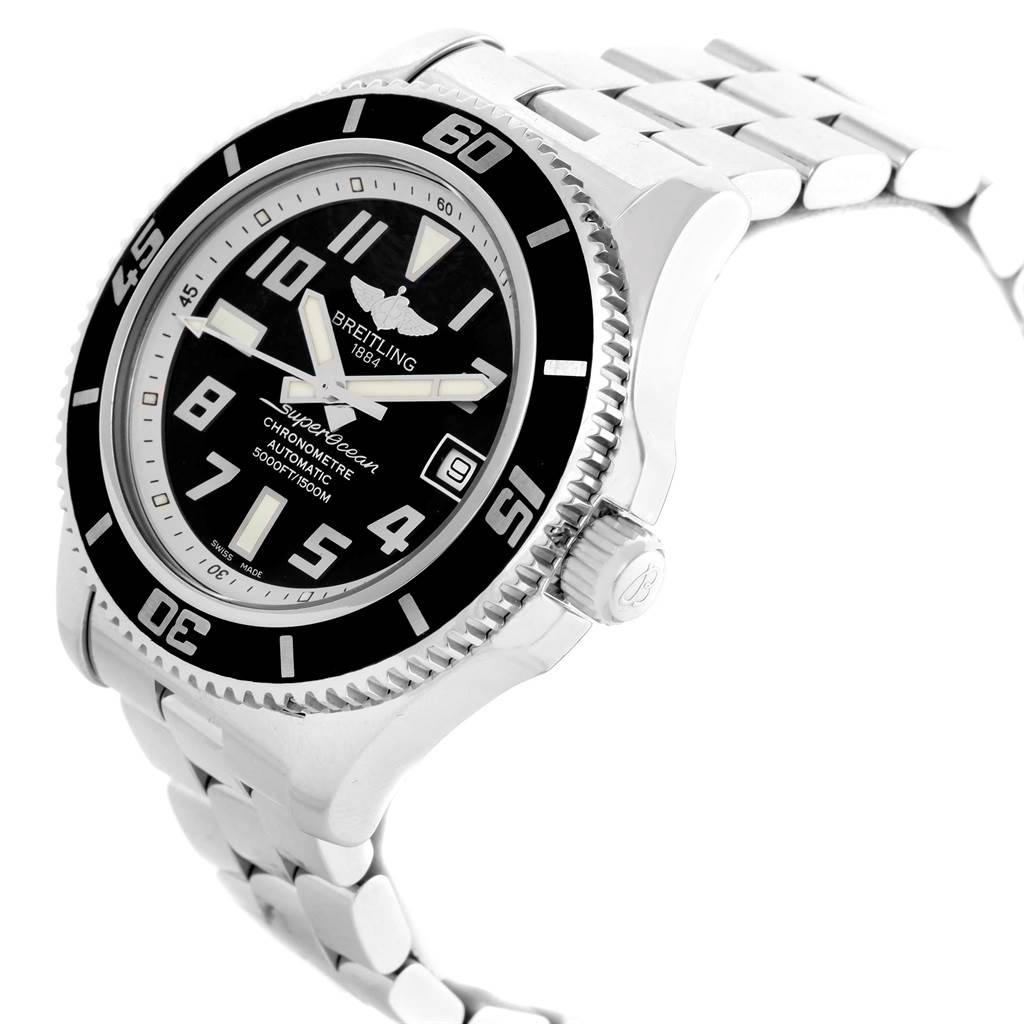 16062 Breitling Superocean 42 Abyss Black Dial Steel Watch A17364 SwissWatchExpo