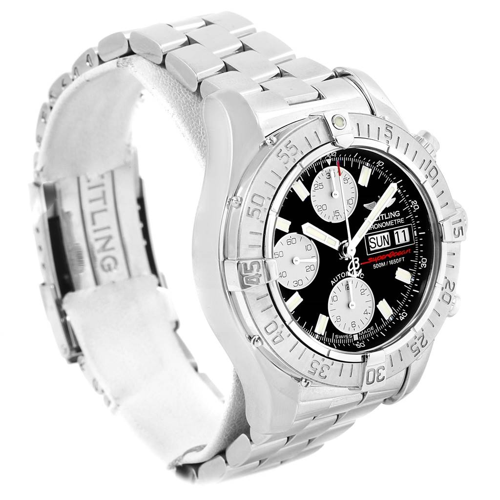 16327 Breitling Aeromarine Superocean Black Dial Mens Steel Mens Watch A13340 SwissWatchExpo