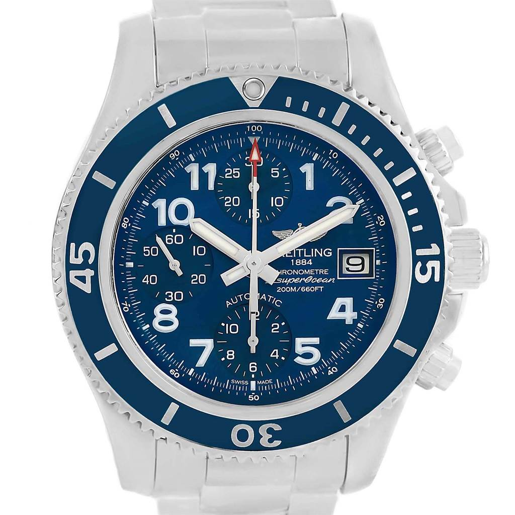 Breitling Superocean Chronograph 42 Steel Blue Dial Mens Watch A13311 SwissWatchExpo