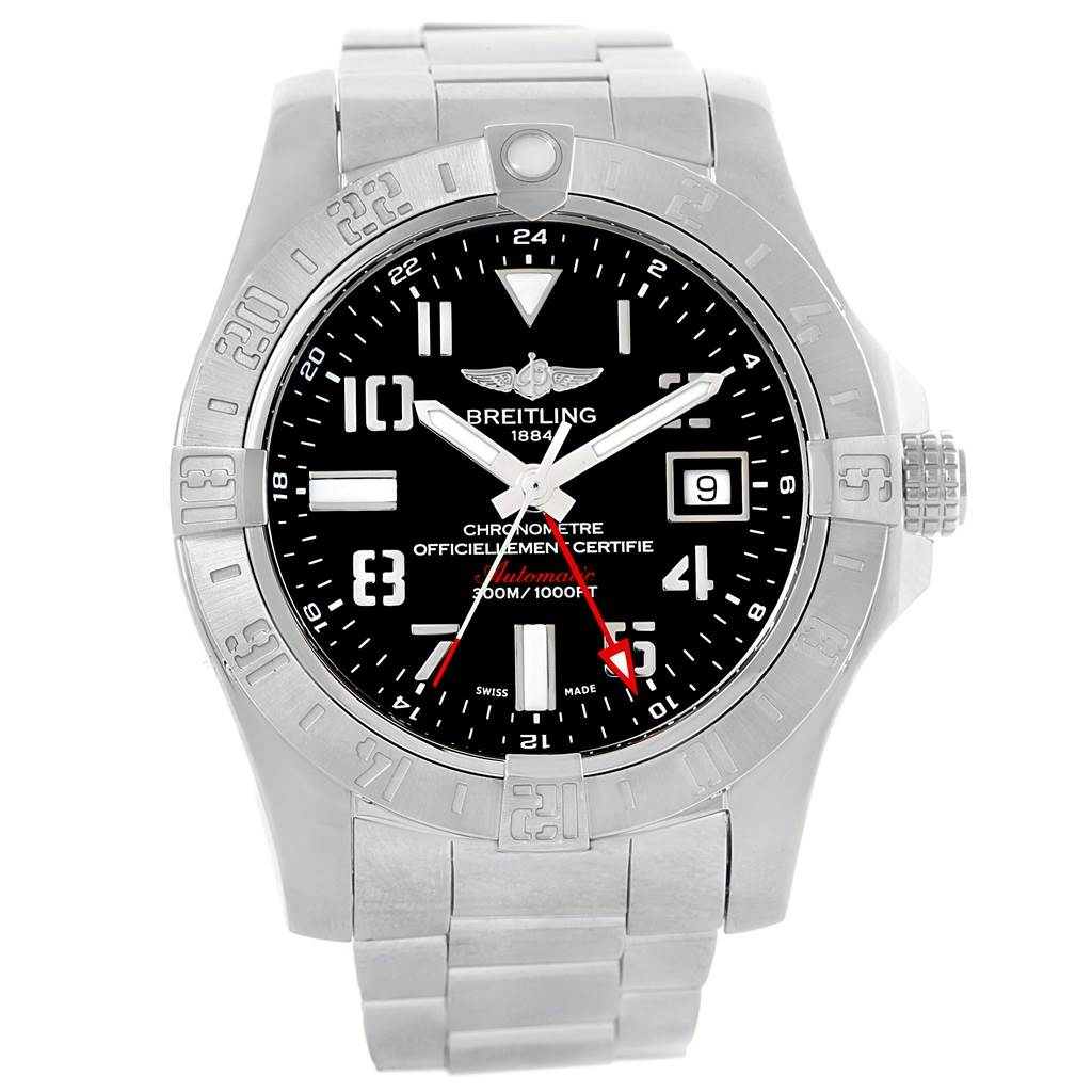 16366 Breitling Aeromarine Avenger II GMT Black Dial Watch A32390 Papers SwissWatchExpo