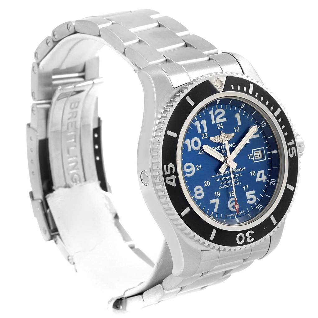 Breitling Superocean II 44 Gun Blue Dial Steel Watch A17392 Box Papers SwissWatchExpo