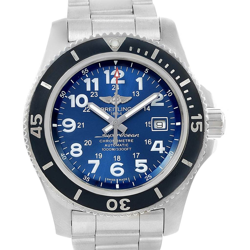 16365 Breitling Superocean II 44 Gun Blue Dial Steel Watch A17392 Box Papers SwissWatchExpo