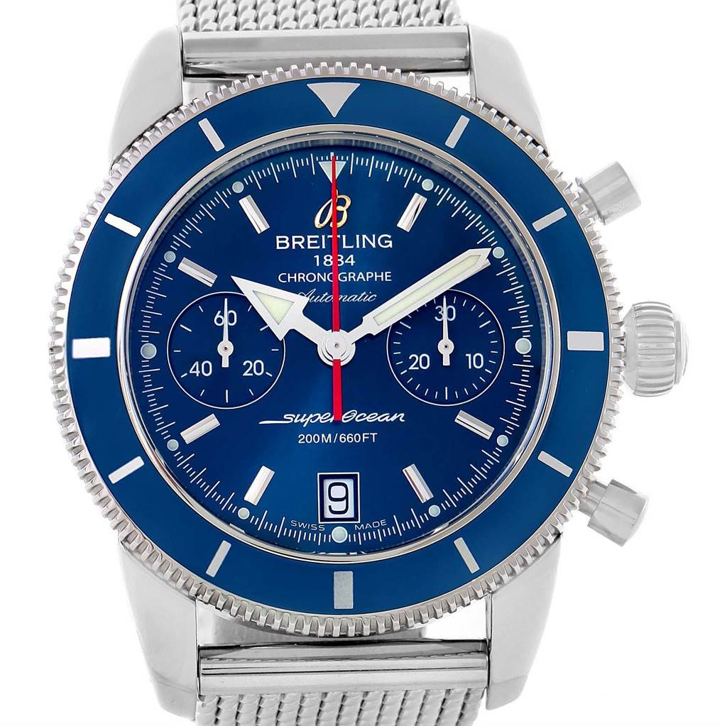 16466 Breitling SuperOcean Heritage 44 Blue Dial Watch A23370 Box Papers SwissWatchExpo