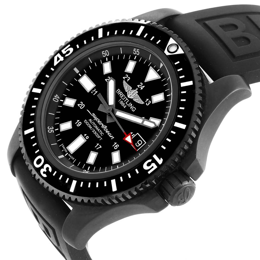 16603 Breitling Superocean 44 Special Blacksteel Mens Watch M17393 Box Papers SwissWatchExpo