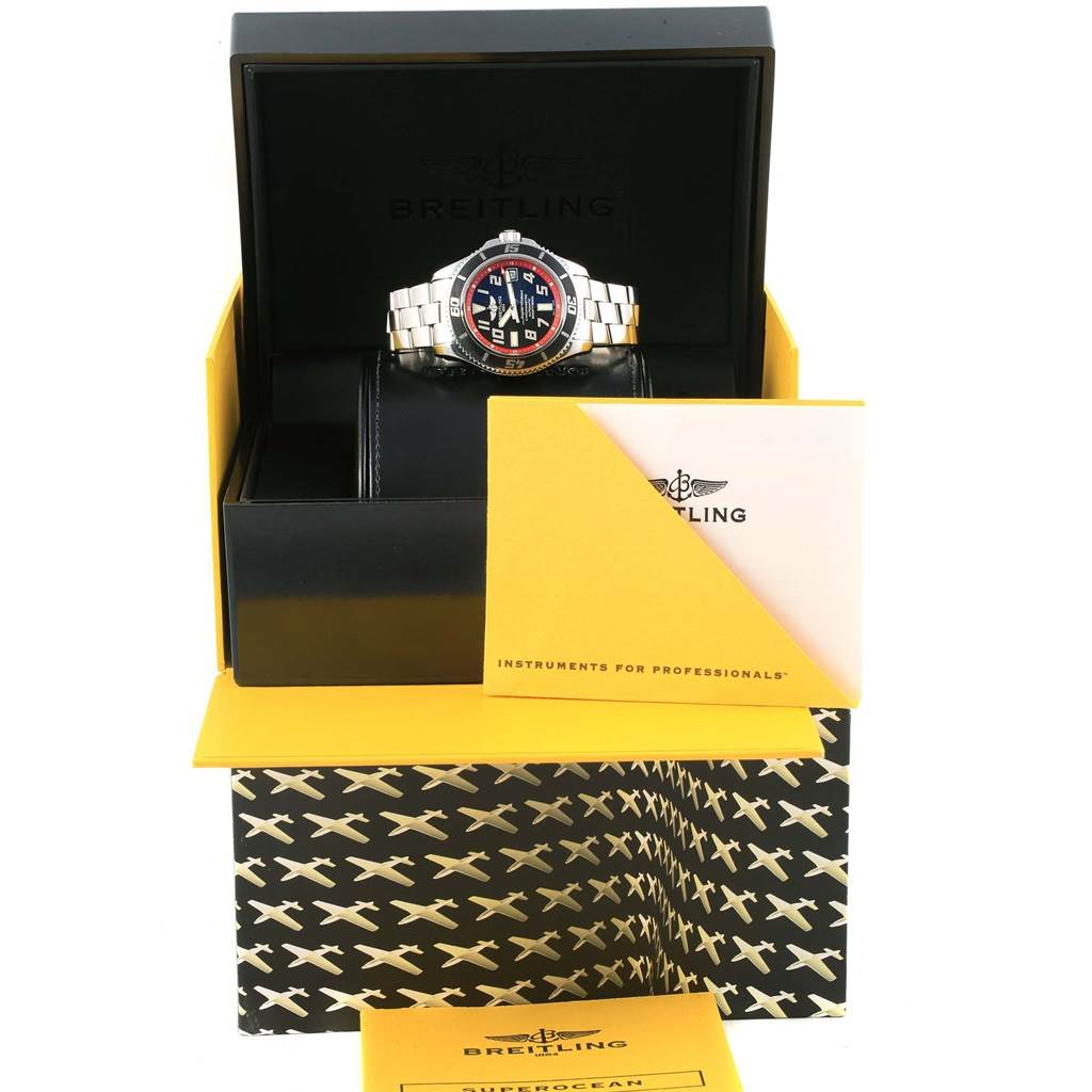 Breitling Superocean 42 Abyss Black Red Steel Mens Watch A17364 SwissWatchExpo